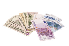 Dollars and euro money Royalty Free Stock Photography