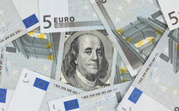 Dollars and Euro Royalty Free Stock Image