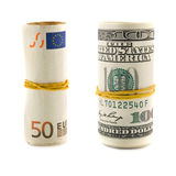 Dollars and euro rolls Stock Photography