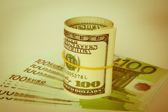 Dollars and euro Royalty Free Stock Image