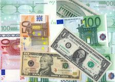 Dollars and Euro. XXXL size royalty free stock image