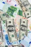 Dollars and euros Royalty Free Stock Photo