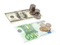 Dollars and euros. 100 dollars, 100 euros, coins  on white Stock Image