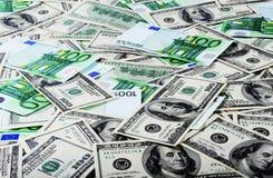 Dollars and Euros stock photos