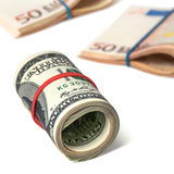 Dollars and euros Royalty Free Stock Images