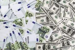 Dollars and euros. Many dollars and euros. Money as background. Top view Stock Image