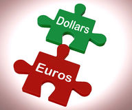 Dollars Euros Puzzle Means International Money Stock Photography
