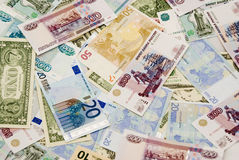Dollars, euros, rubles. Background of currency: dollars, euros, rubles Royalty Free Stock Photography