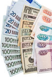Dollars, euros and russian Robles. Money of the world - Dollars, euros and russian Robles Stock Photo