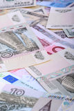 Dollars, euros, russian roubles - Money of the world Royalty Free Stock Image