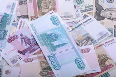 Dollars, euros, russian roubles - Money of the world Royalty Free Stock Photography