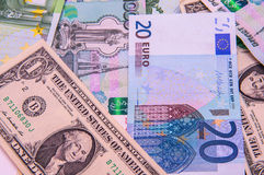 Dollars, euros, russian roubles Royalty Free Stock Image