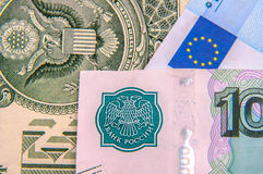 Dollars, euros, russian roubles Stock Photography