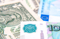 Dollars, euros, russian roubles Royalty Free Stock Photography