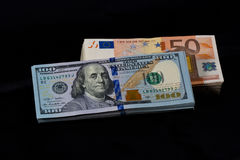 Dollars and Euros Royalty Free Stock Photography