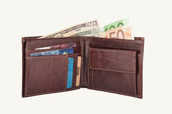 Dollars and Euros in Wallet Stock Photography