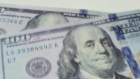 100 dollars falling down macro stock video footage