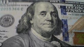 100 dollars falling down macro stock video