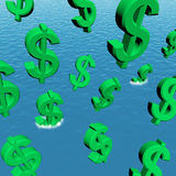 Dollars Falling In The Ocean Royalty Free Stock Images