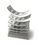 Dollars falling to the stack of dollars Stock Images