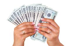 Dollars in female hands isolated royalty free stock images