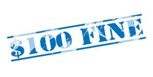100 dolars fine blue stamp. 100 dollars fine blue stamp isolated on white background vector illustration