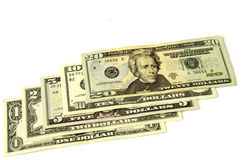 Dollars. Five denominations together. Royalty Free Stock Photos