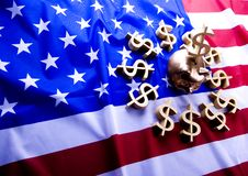 Dollars on the flag Royalty Free Stock Photo