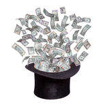 Dollars flaying out of old hat. On white Stock Photos