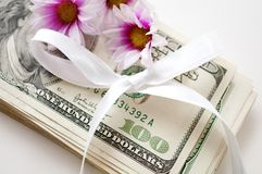 Dollars with flowers and bow Royalty Free Stock Image