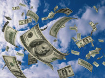 Dollars fly Stock Photos