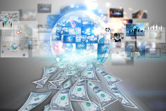 Dollars flying away from business global Stock Photography