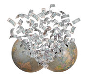 Dollars flying out of burst earth Royalty Free Stock Photos