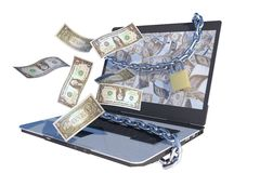 Dollars flying out laptop Stock Photography