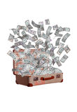 Dollars flying out of old suitcase Royalty Free Stock Photo