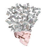 Dollars flying out of skull royalty free stock photos