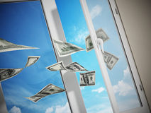 Dollars flying out of the window. 3D illustration Royalty Free Stock Photo
