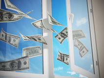 Dollars flying out of the window. 3D illustration.  Royalty Free Stock Photo