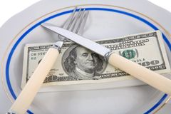 Dollars on food plate Royalty Free Stock Photo
