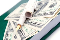 Dollars, fountain pen and notepad Royalty Free Stock Photo