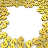 Dollars frame. Frame of golden dollar currency symbols. 3d rendered image Stock Photo