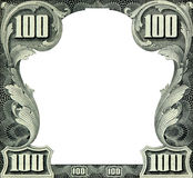Dollars frame. One hundred dollar empty frame isolated on white royalty free stock photo