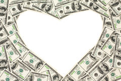 Dollars frame as heart Royalty Free Stock Photography