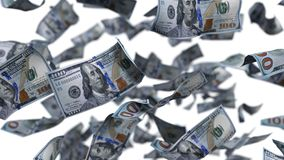 Dollars on free falling. 3d illustration. For finance,economy and money themes stock illustration