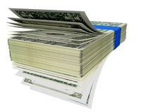 Dollars front like fan pile - 3d rendering Royalty Free Stock Images