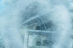 100 dollars frozen melt. Banknotes frozen in ice stock illustration