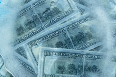 100 dollars frozen melt. Banknotes frozen in ice vector illustration
