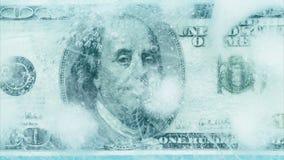 100 dollars frozen melt. stock video footage