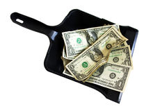 Dollars it garbage. One-dollar banknotes in black dustpan for dust Stock Photography