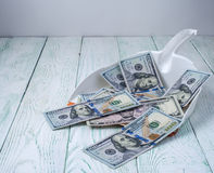 Dollars in garbage scoop on wooden background Stock Images